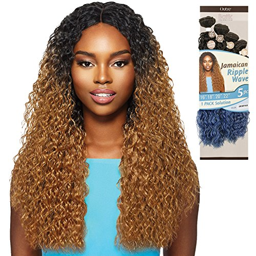 OUTRE Synthetic Hair Weave Batik Duo Jamaican Ripple Wave 5Pcs (1B) ()