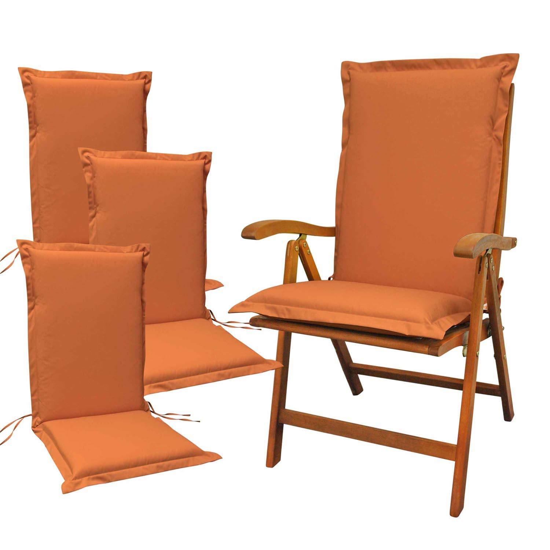 Indoba 4 x Sitzauflage Hochlehner Premium Polsterauflagen Terra