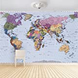 1 wall carte du monde papier peint photo d cor mural multicolore 158 x 232 cm. Black Bedroom Furniture Sets. Home Design Ideas