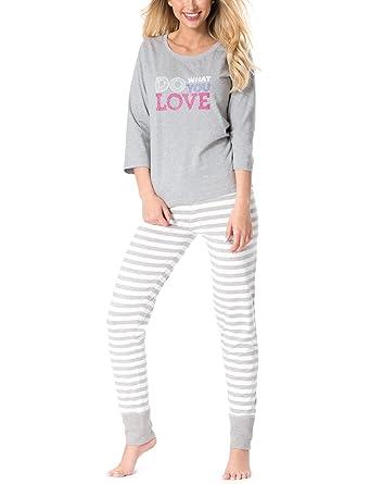8bd3ac72ee Rossli Sal-PY 1082 Women s Pyjama Set 3 4 Sleeved Top Striped Pants ...