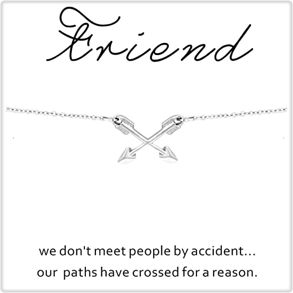 Best Friends Cross Arrow Pendant Necklace Friendship Gifts for Women