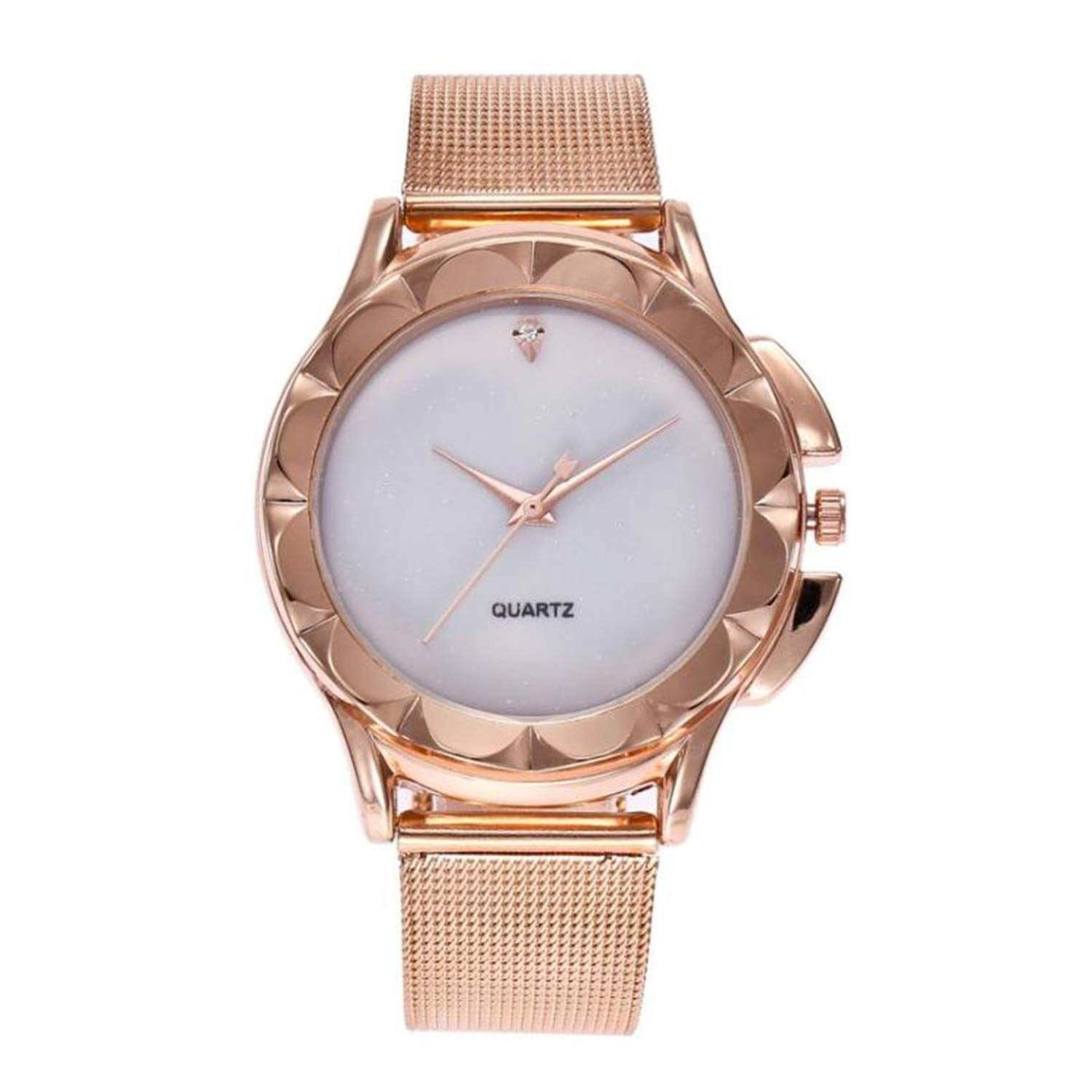 Amazon.com : Watch Women Luxury Rose Gold Bracelet Crystal Stainless Steel Mesh Analog Quartz Red Ladies Gift Watch Reloj Mujer Pulsera(Black, ...