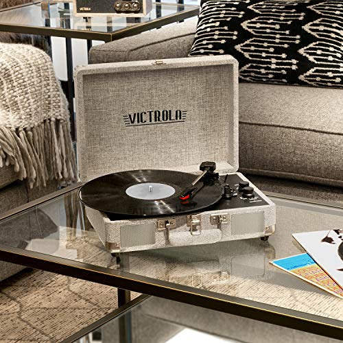 Victrola Vintage 3-Speed Bluetooth Portable Suitcase Record Player with Built-in Speakers | Upgraded Turntable Audio Sound| Includes Extra Stylus | Light Gray