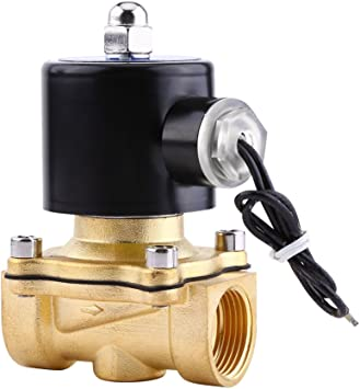 Black 1//8 Brass Electric Solenoid Valve 12V DC Normally Closed for Water Air Oil Walfront