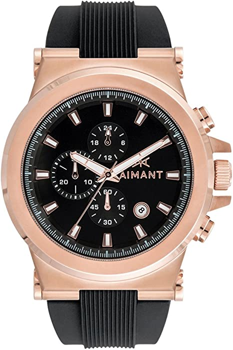 AIMANT Mens Monaco Rose Gold with Black Silicone Strap Watch GMO-180SI1-1RGB