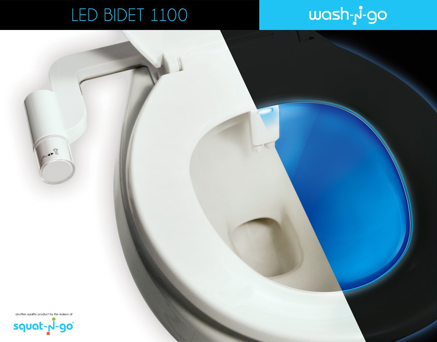 Wash N Go LED Bidet - Night Light and Bidet Toilet Seat Attachment ...