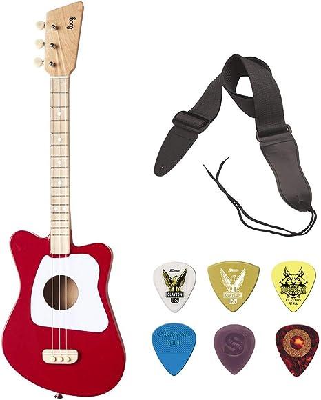 LOOG - Mini guitarra para niños con correa de guitarra y púa de guitarra (10 unidades): Amazon.es: Instrumentos musicales