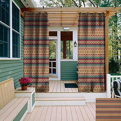 (leinuoyi Native American, Outdoor Curtain Set of 2 Panels, Seamless Pattern with Aztec Motifs Horizontal Stripes, for Pergola W120 x L96 Inch Beige Turquoise and Burgundy)