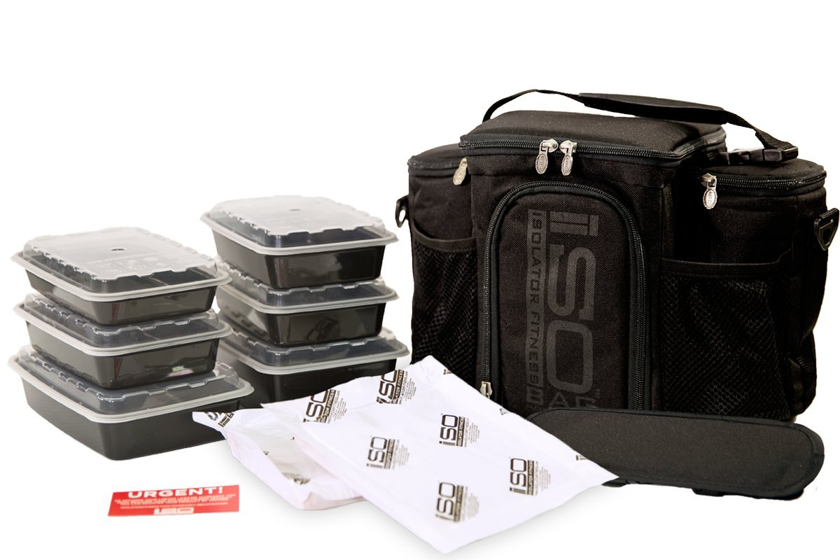 Isolator Fitness 3 Meal ISOBAG Meal Prep Management Insulated Lunch Bag Cooler with 6 Stackable Meal Prep Containers, 2 ISOBRICKS, and Shoulder Strap - MADE IN USA (Blackout) by Isolator Fitness