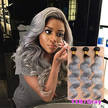 Amazon.com : Tomorrowlover HOT Sale 1B Silver Grey Ombre Human Hair ...
