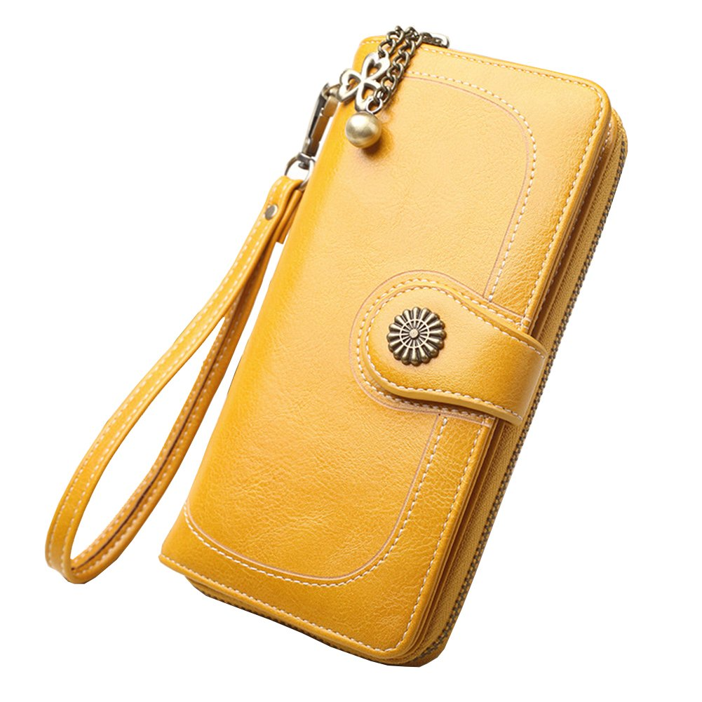 Women's RFID Blocking Wax Leather Clutch Wallet with Wrist Strap Large Capacity Card Holder Organizer Ladies Purse Wallets for women (Yellow)