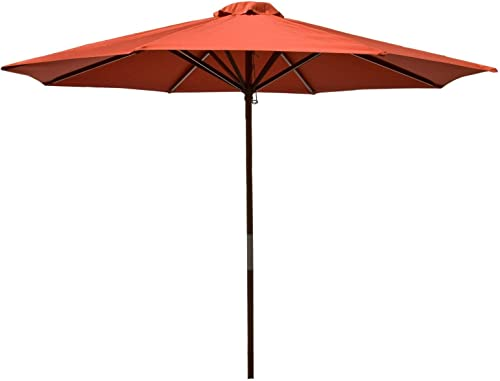 Heininger 1284 DestinationGear Classic Wood Chili 9' Market Umbrella