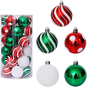 30PCS/Set Christmas Tree Balls Classic Painting Shatterproof Shine Ball Ornaments Decoration for Holiday Wedding Party(White)