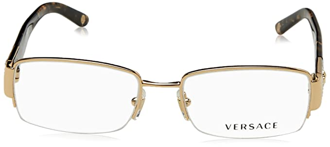 7bfd47ae42 Amazon.com  Versace VE 1175B Eyeglasses w  Gold Frame and Non-Rx 53 mm  Diameter Lenses
