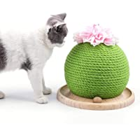 Cactus Cat Scratcher with Funny Ball, AUOKER Cactus Ball Shape Sisal Cat Scratching Post with Flower and Catnip, Fun Pet Cats Interactive Toys Scratch Cat Activity Centre for Grinding Paw and Playing