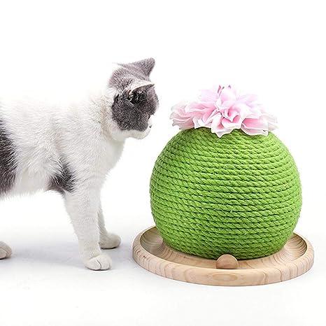 AUOKER gato Rascador de cactus con bola divertida, forma de bola ...
