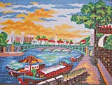 BOATS BY THE BRIDGE NEEDLEPOINT CANVAS #10.393 CANVAS ONLY, NOT A KIT