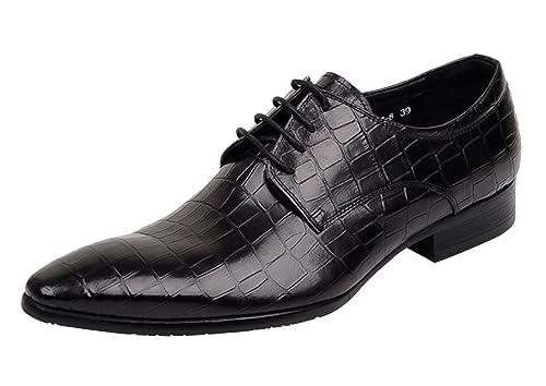 WOUFO Mocasines de hombre Cuero superior Cabeza puntiagudo Piedra raya Tipo comercial 44 Negro: Amazon.es: Zapatos y complementos