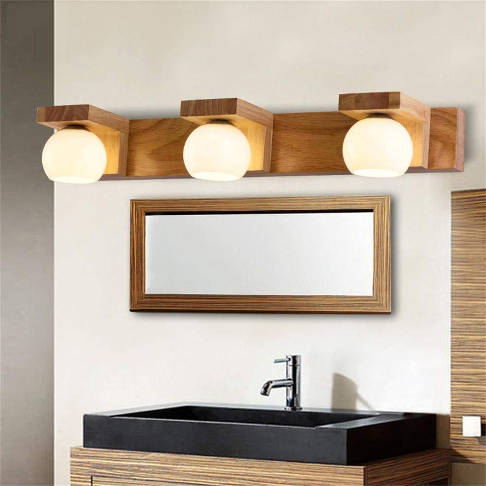 FXING Dekorative Wand Lampe Spiegel vordere Lampe am Bett Schlafzimmer Wohnzimmer Studie Treppenhaus Flur für Holz- Wandleuchte (Farbe  3 Licht)