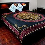 Handmade 100% Cotton Celtic Circular Knot Print Tapestry Bedspread Tablecloth Throw King 110x110