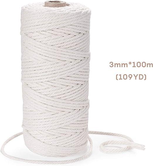EKKONG Cuerda algodón, Cuerda Trenzada de algodón de macramé ...