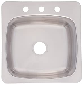 Franke Axis 20-Inch Wide x 10-Inch Deep Topmount 3-Hole Single Bowl Kitchen Prep, Bar or Utility Sink in Stainless Steel, SL103BX