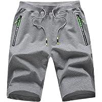 Pantalones cortos de verano para hombre, estilo casual, cintura elástica con bolsillos con cremallera