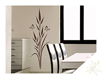Sticker mural jonc de mer Plante avec papillons pour le ...