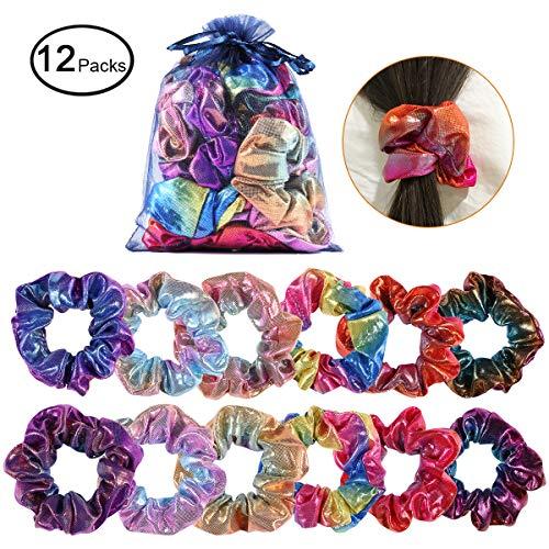 - Shiny Metallic Scrunchies, YI-GOG Women Girls Shiny Metallic Large Hair Scrunchie Mermaid Hair Bow Elastics Ponytail Holder(12 Pieces)