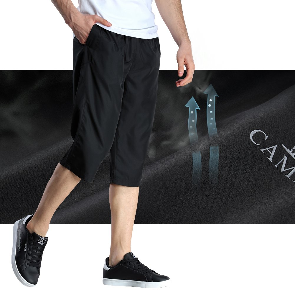 Camel Mens Casual Shorts,Lightweight Breathable Long Shorts Loose Fit Walk Shorts Stretch for Running Workout Gym