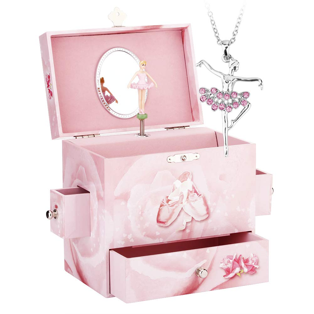 Round Rich Music Jewelry Box and Ballerina Dance Necklaces with Melody is Swan Lake Pink by Round Rich (Image #2)