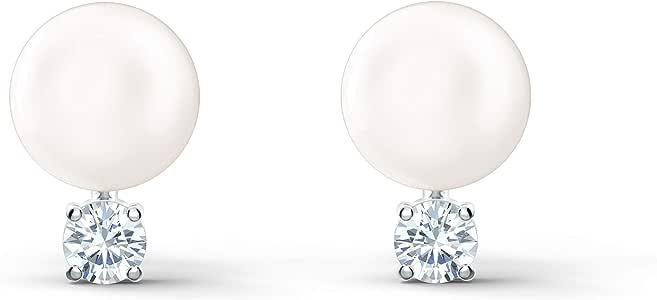 Swarovski Pendientes Treasure Pearl, blanco, baño de rodio