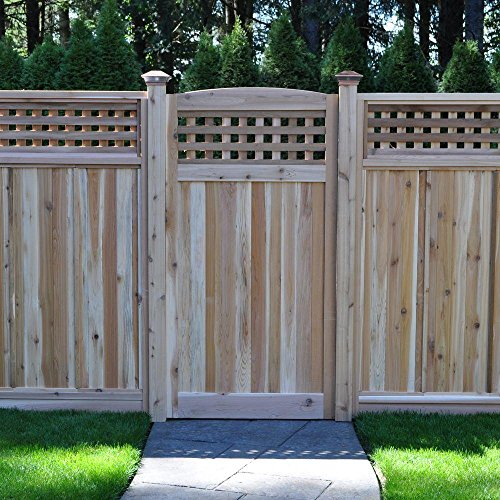 3 ft. x 6 ft. Western Red Cedar Arch Top Checker Lattice Fence Gate (Lattice Gate)