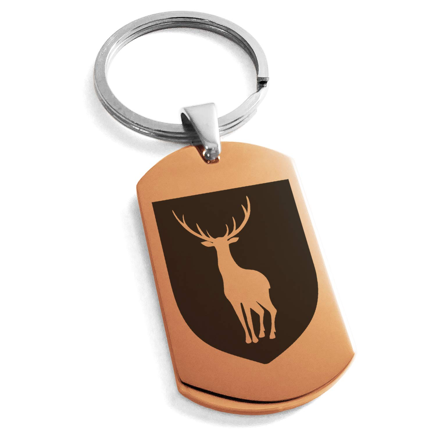 Tioneer Rose Gold Stainless Steel Stag Purity Coat of Arms Shield Symbol Engraved Dog Tag Keychain Keyring