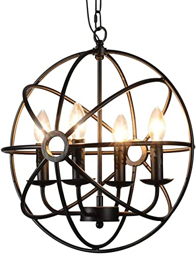 Metal Round Cage Pendant Lights – BAYCHEER Industrial Vintage Retro Black Iron Global Pendant Lamp Fixture Hanging Lighting Chandelier with 4 E12 Blub Bases for Restaurant,Bar,Living Room,UL Listed