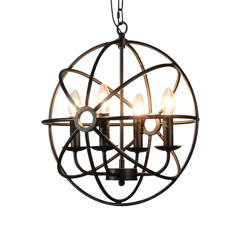 BAYCHEER HL422105 Industrial Vintage Retro LOFT style wrought iron Metal Globe Cage Round Pendant Lamp Fixture Pendant Light Chandelier use 4 E12 Blubs