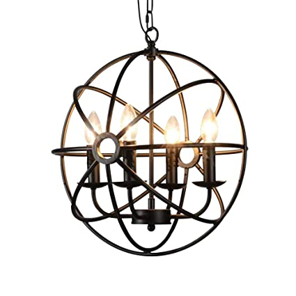 new style 9c77e 8e18a BAYCHEER HL422105 Industrial Vintage Retro LOFT Style Wrought Iron Metal  Globe Cage Round Pendant Lamp Fixture Pendant Light Chandelier with 4-Light