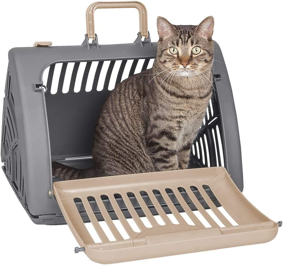Sport Pet Foldable Travel Cat Carrier - Front Door Plastic Collapsible Carrier Collection