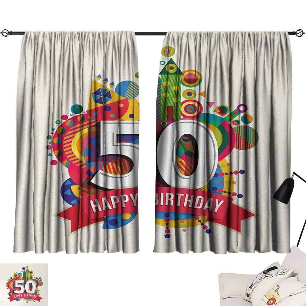 Jinguizi 50th Birthday Curtain Door Panel Cartoon Style Colorful Pop Poster Like Celebration Label Festive Design Print décor Darkening Curtains Multicolor W55 x L39 by Jinguizi (Image #1)