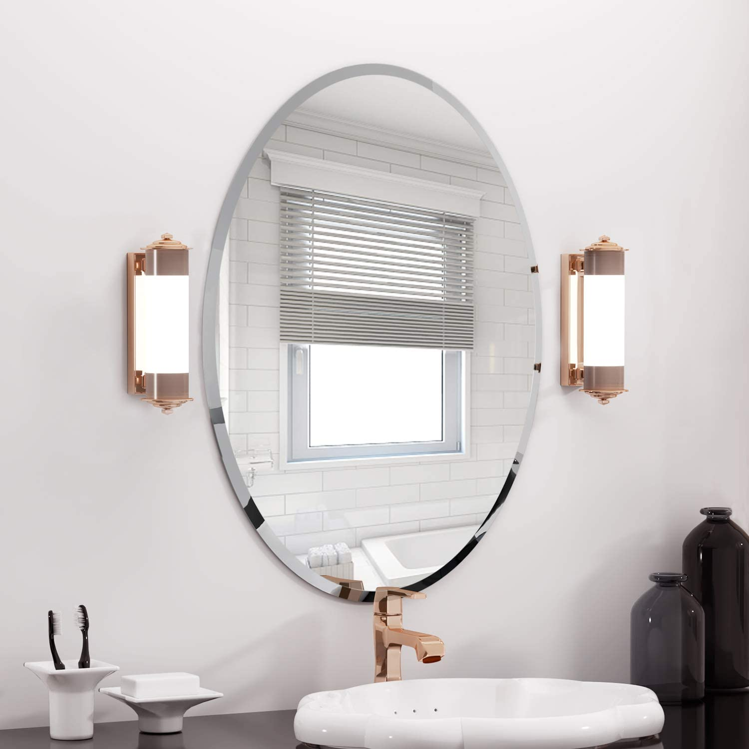 Amazon Com Oval Beveled Polished Frameless Wall Mirror For Bathroom Vanity Bedroom Home Kitchen