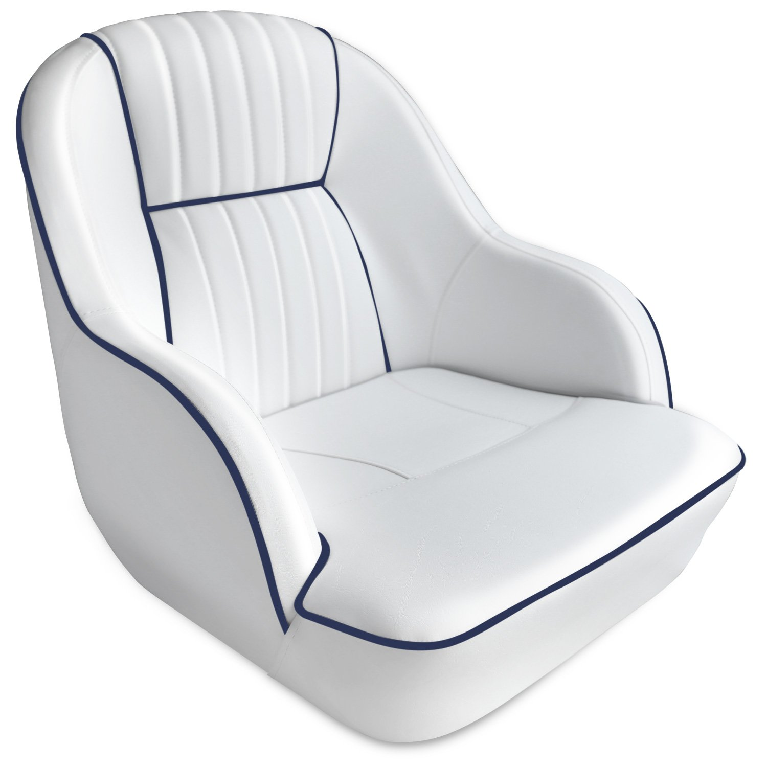 Leader Accessories Pontoon Captains Bucket Seat Boat Seat (White/Navy Blue Piping) by Leader Accessories