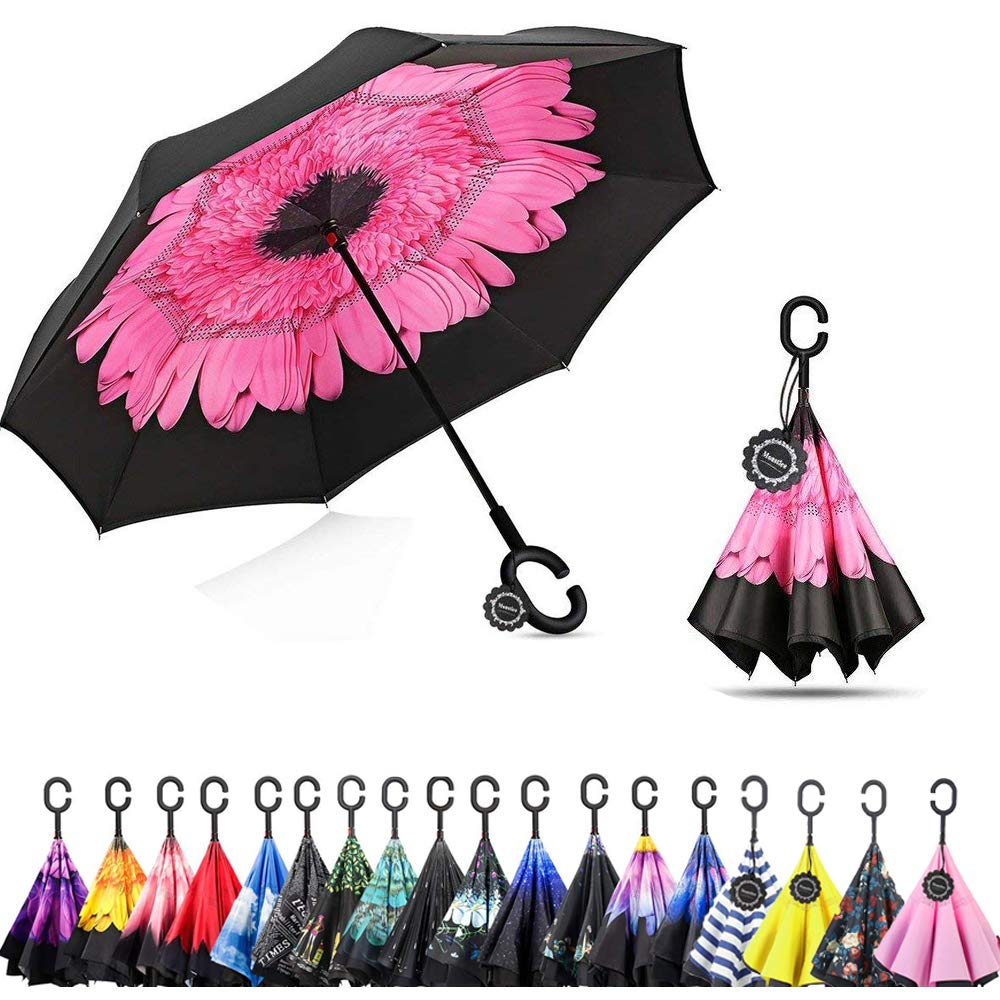 Monstleo Double Layer Inverted Umbrella Cars Reverse Umbrella, Windproof UV Protection Big Straight Umbrella for Car Rain Outdoor With C-Shaped Handle and Carrying Bag …