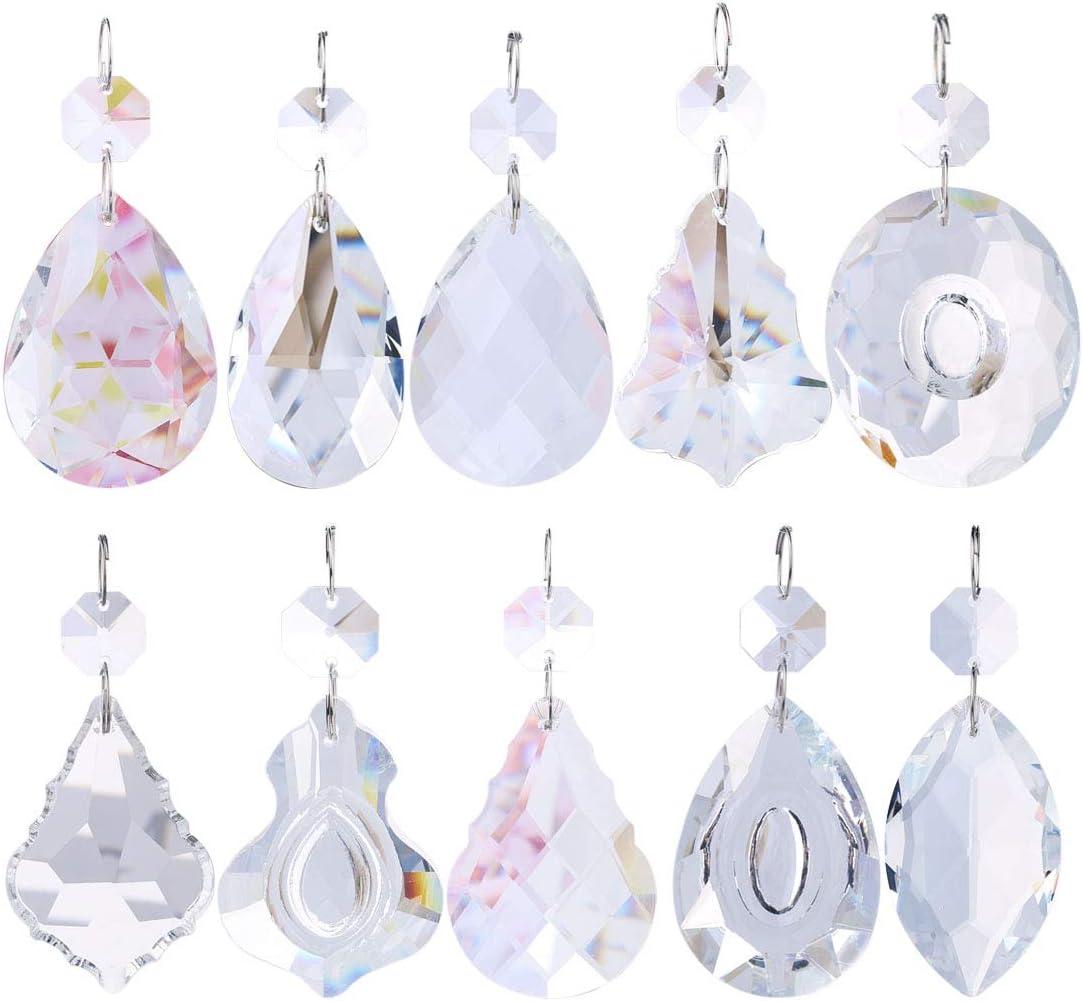 10Pcs Teardrop Glass Crystal Beads Hanging Rainbow Prism Pendants DIY Decoration