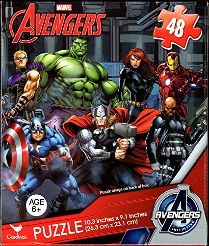 Avengers 48 Piece Jigsaw Puzzle CAPTAIN AMERICA, HULK, THOR, BLACK WIDOW, HAWKEYE, IRON MAN and NICK FURY -