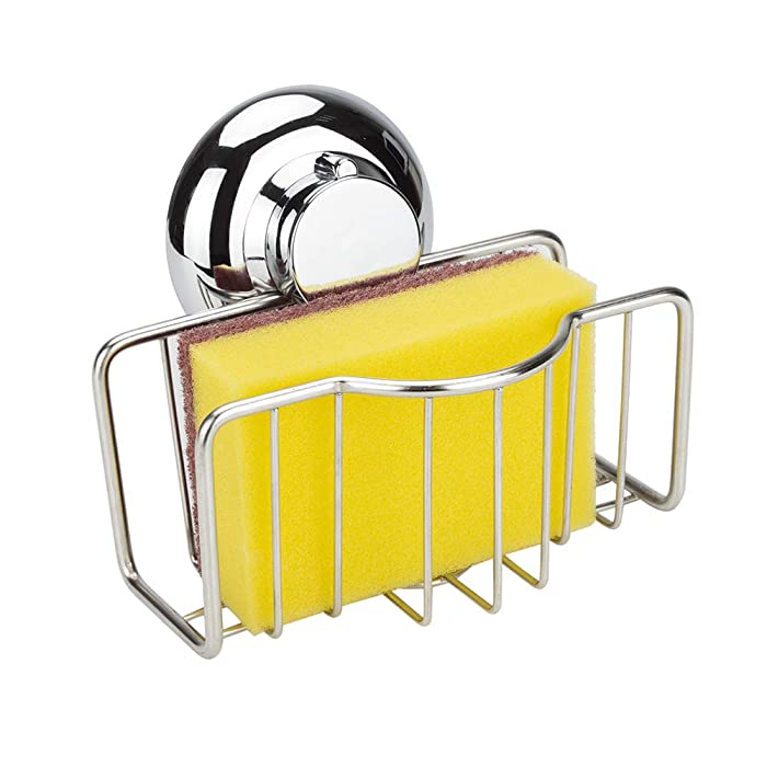 WISH Sponge Holder for Kitchen Sink with Suction Cup - Stainless Steel Sink Caddy Dish Brush Rack Liquid Draining Bask for Sponges, Scrubbers