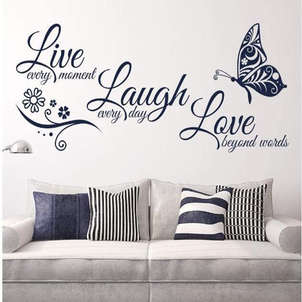 Live Love Laugh Set 3 Wall Sticker Motivational Wall Decals,Family Inspirational Wall Stickers Quotes(10x22, Black)