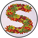 Printing Round Rug,Letter S,Vivid Seasonal Growth Themed Capital S with Bunch of Acorns Language School Theme Mat Non-Slip Soft Entrance Mat Door Floor Rug Area Rug For Chair Living Room,Multicolor