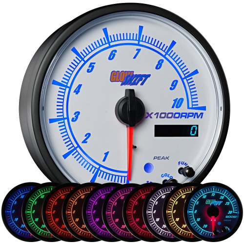 GlowShift White Elite 10 Color 10,000 RPM Tachometer Gauge - Includes Shift Light - Mounts in Custom Dashboard - For 1-10 Cylinder Gas Engines - White Dial - Clear Lens - Peak Recall - 3-3/4
