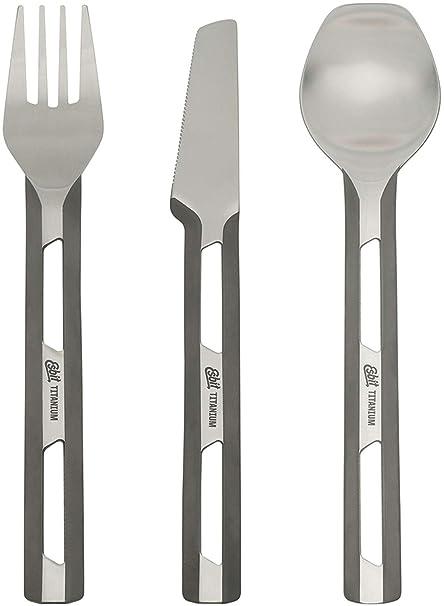 Esbit Ultra Lightweight Titanium Cutlery 3 Piece Set with Fork, Spoon and  Knife