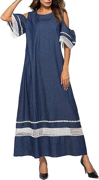 zhxinashu Musulmán Mujer Vestido Maxi Algodón - Kaftan Islámica ...